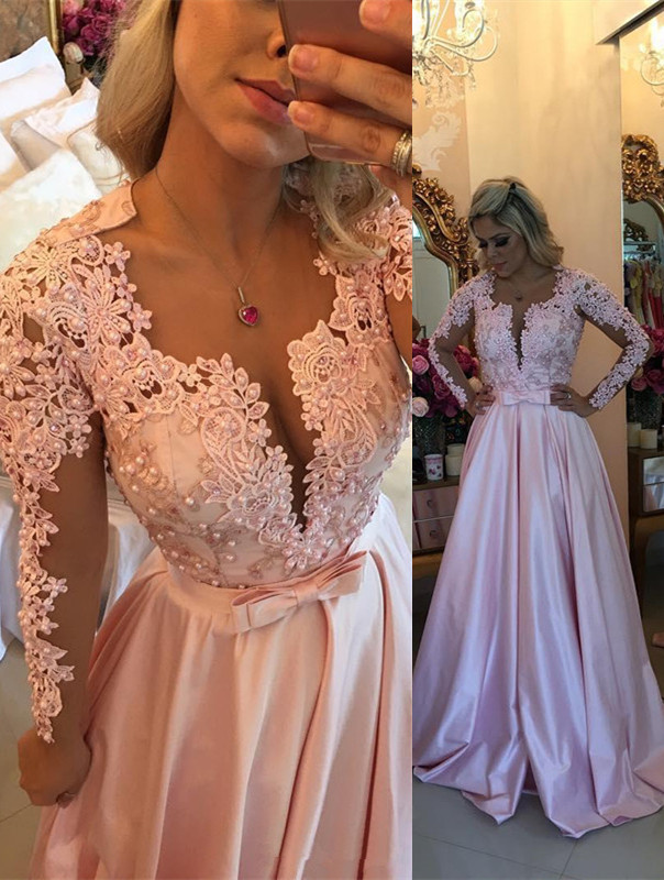 Elegant Lace Appliques Long Sleeve 2020 Evening Dress With Beads BA7546