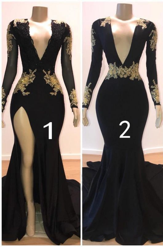 Sexy Black Long Sleeve Prom Dresses   2020 Gold Appliques Evening Gowns On Sale 1BC0583
