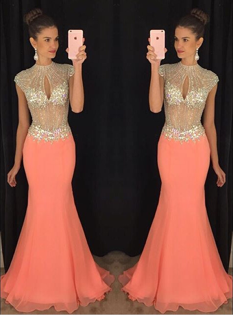 Stunning High-Neck Crystal Prom Dresses 2020 Mermaid Long Chiffon Party Gown TD036 AP0