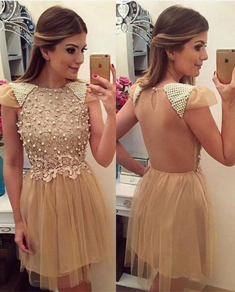Newest Pearls Lace Appliques 2020 Cocktail Dress Short Cap Sleeve Tulle