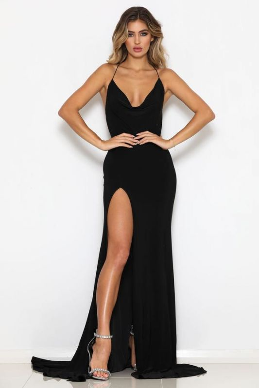 2020 Modest Halter Mermaid Sleeveless Sweep Train Prom Dress | Black Front Split Backless Evening Gown BC0542