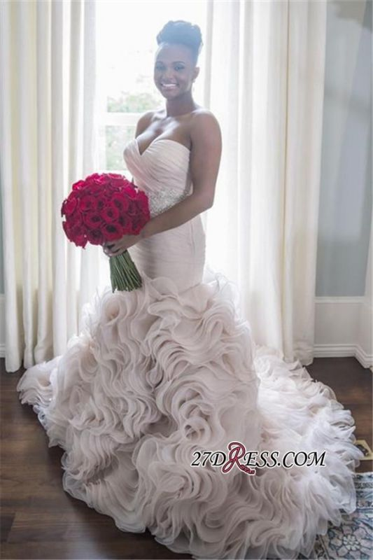 2020 Open-Back Sleeveless Sheath Sweetheart Ruffles Organza Wave-Design Court-Train Wedding Dress BA4991