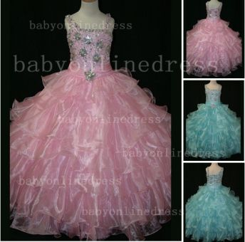 Crystal Girls Ball Gown Pageant Dresses Affordable Beauty Gownss Wholesale 2020 Beaded Layered