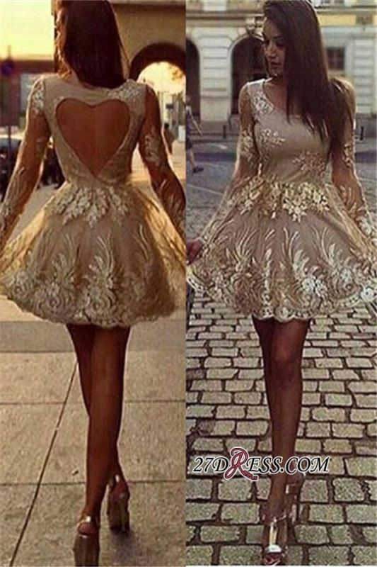Jewel Short Illusion-Sleeves Fascinating Open-Back A-line Homecoming Dresses
