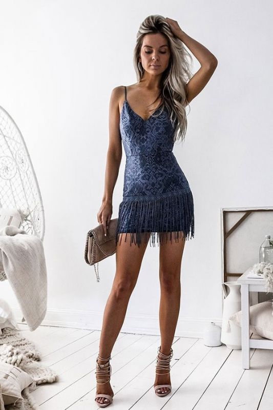 Short Sexy V-neck Sheath Spaghetti-strap Homecoming Dresses