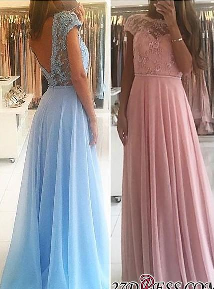 Lace A-line Chiffon Short-Sleeves Chic Floor-length Evening Dress