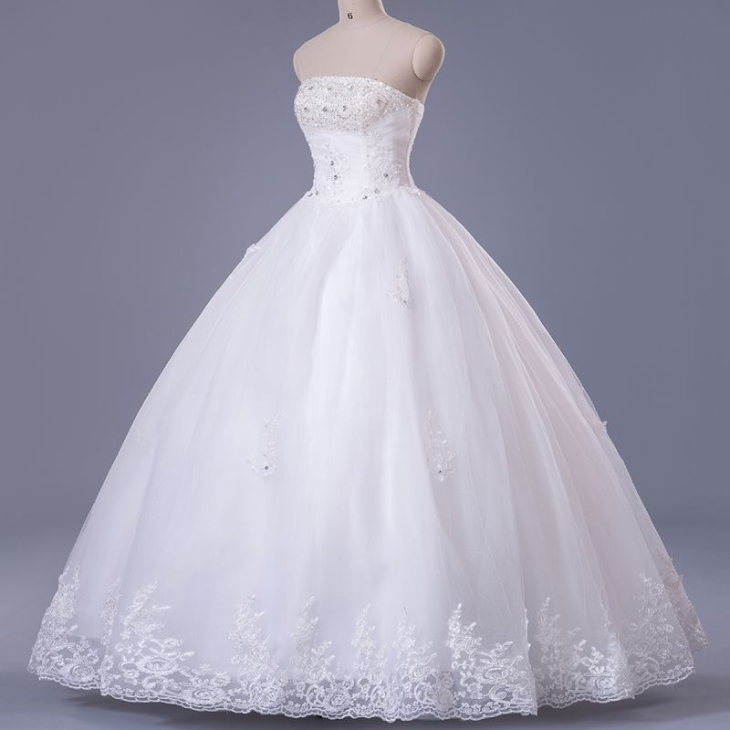 Elegant Strapless Sleeveless Wedding Dress Ball Gown With Lace Beadings