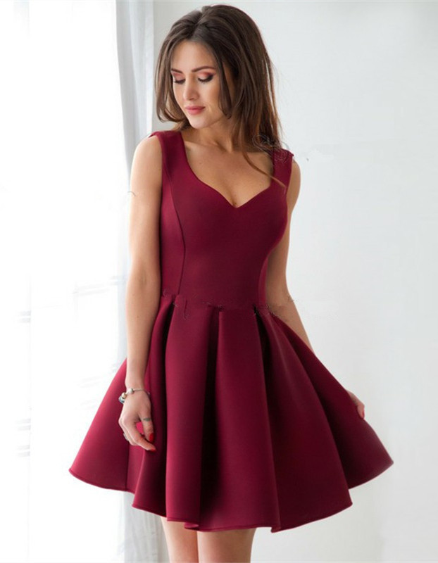 Cheap Burgundy Straps A-line Homecoming Dress | Sleeveless Short Party Gown