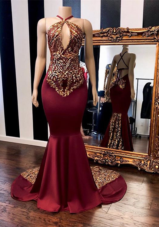 Chic Burgundy Halter Prom Dresses   2020 Mermaid Gold Appliques Evening Gowns BC1302