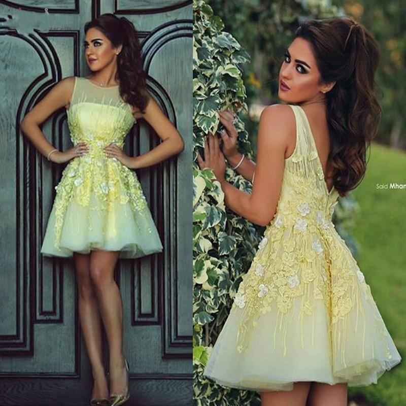 Modern Illusion Sleeveless Short Homecoming Dress With Flowers Appliques