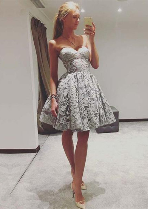 Elegant Sweetheart Lace Homecoming Dress   2020 Mini Party Dress On Sale