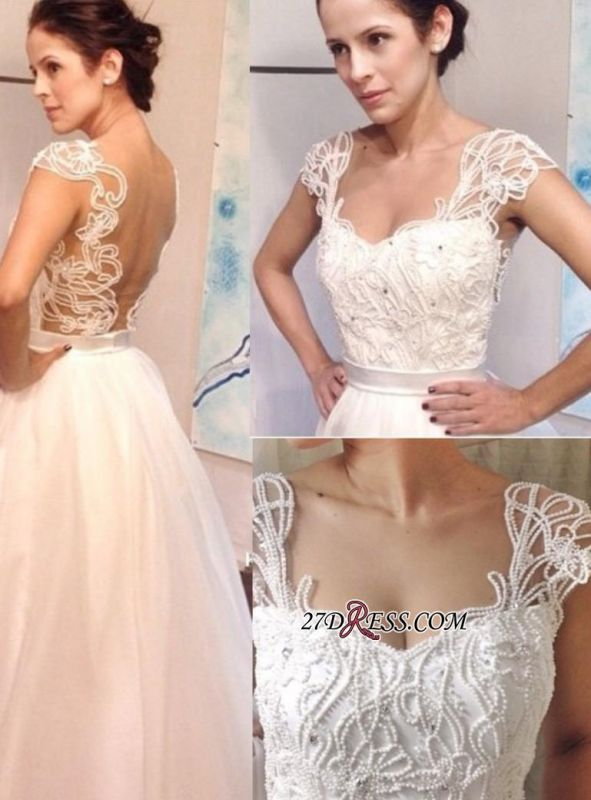 Straps Elegant Backless A-line White Pearls Floor-length Wedding Dress