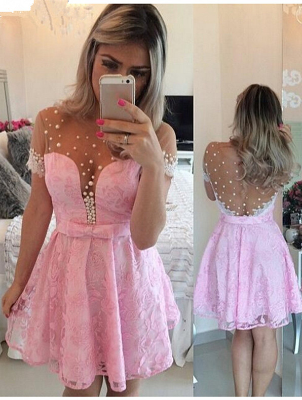 Lovely Pink Cap Sleeve 2020 Homecoming Dress Lace Pearls BT0