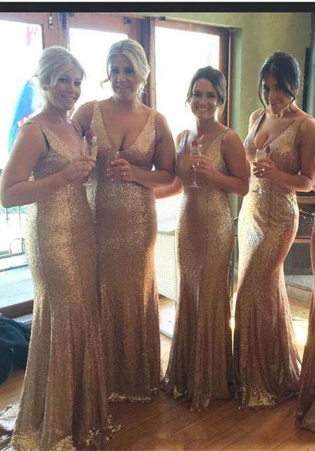 Stunnning V-Neck Sequins Gold Bridesmaid Dresses 2020 Plus Size Long Floor Length