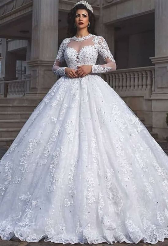 Glamorous Long Sleeve 2020 Wedding Dresses | Lace Ball Gown Bridal Wears
