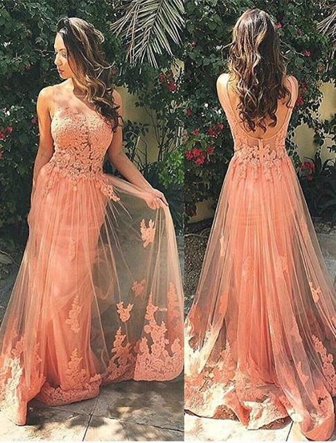 Gorgeous Sleeveless Lace Prom Dress 2020 Tulle Open Back