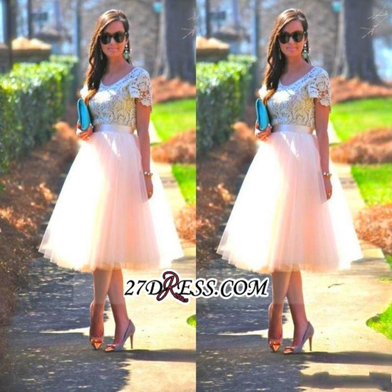 Lace Tulle Short-Sleeves A-Line Tea-Length Homecoming Dress