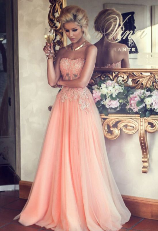 Appliques Long Lace Prom Dress Lovely Strapless Lace