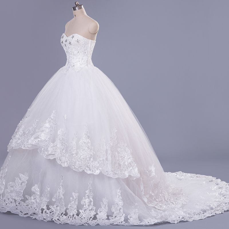 Modern Sweetheart Sleeveless Tulle Lace Wedding Dress With Beadings Lace-up