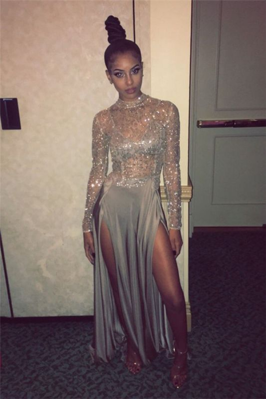 Delicate High Neck Long Sleeve Prom Dress | Front Split Prom Dress