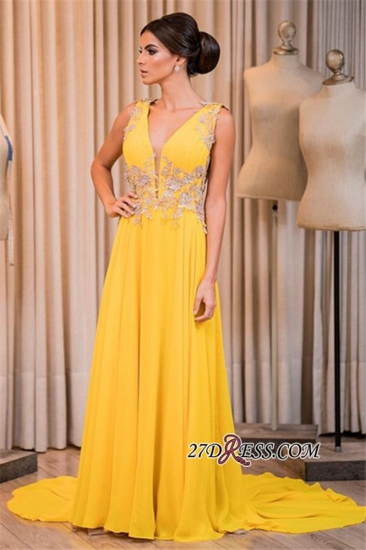 Yellow prom dress, 2020 long chiffon evening gowns