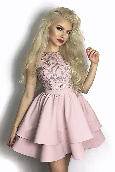 Lovely Pink Homecoming Dresses | 2020 Mini Layers Lace Short Dresses