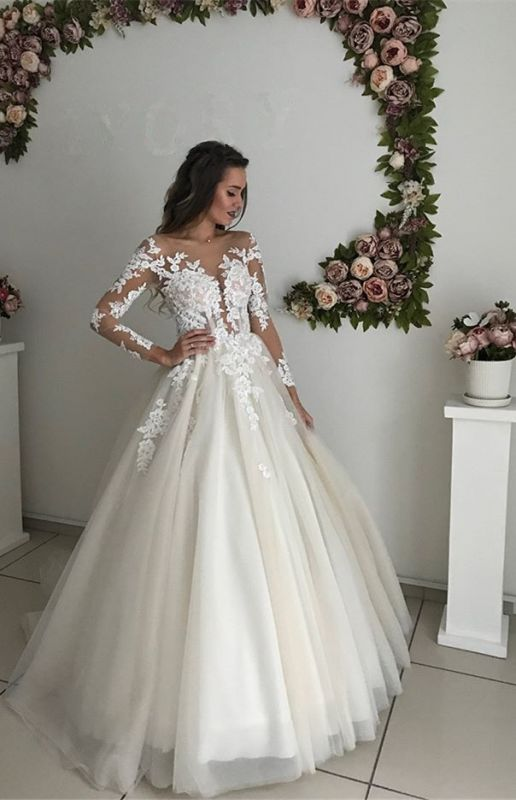 Gorgeous Long Sleeve Tulle Wedding Dresses | 2020 Zipper Button Back Bridal Gowns On Sale