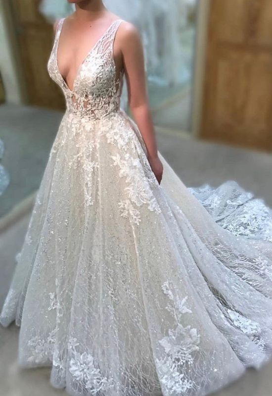 Glamorous V-Neck Sleeve Lace Wedding Dress | 2020 Sequins Long Bridal Gowns