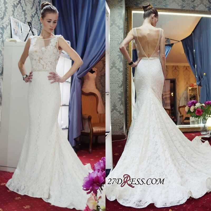 Lace Sleeveless Gorgeous Zipper Mermaid Backless Wedding Dress