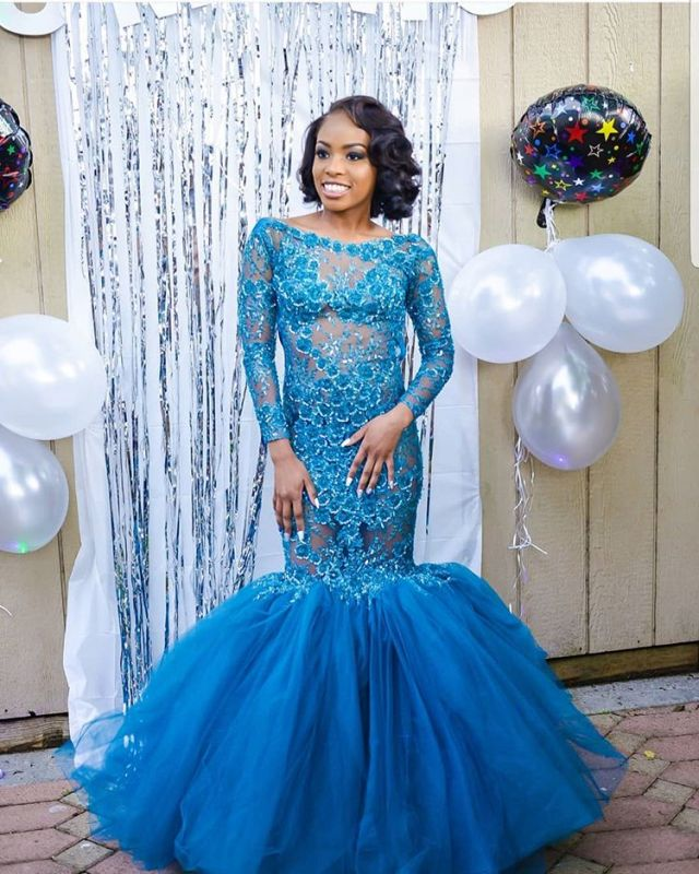 Gorgeous Crew Long Sleeves Prom Dress | Mermaid Appliques Evening Gowns With Tulle