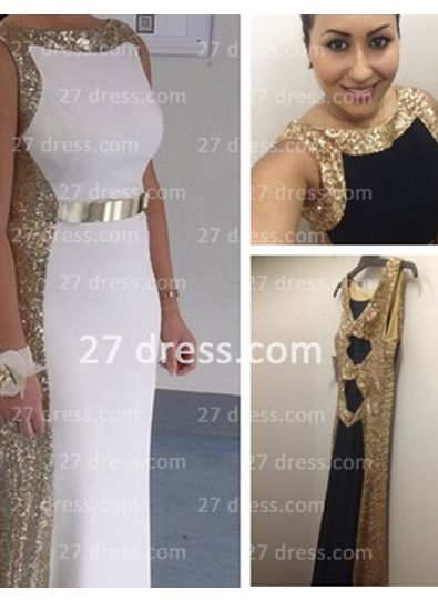 Sleeveless Long Sequin Prom Dress with 2020 Sexy Real Scoop Neckline Evening Gowns Online Custom Made