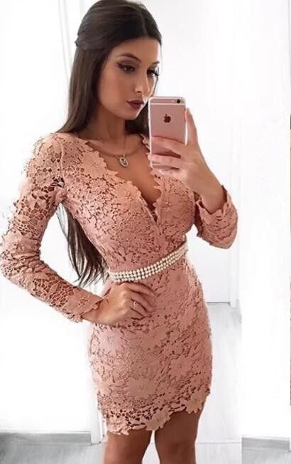 Beautiful Long Sleeve Homecoming Dress   2020 Mermaid Lace Short Party Dress With Pearls