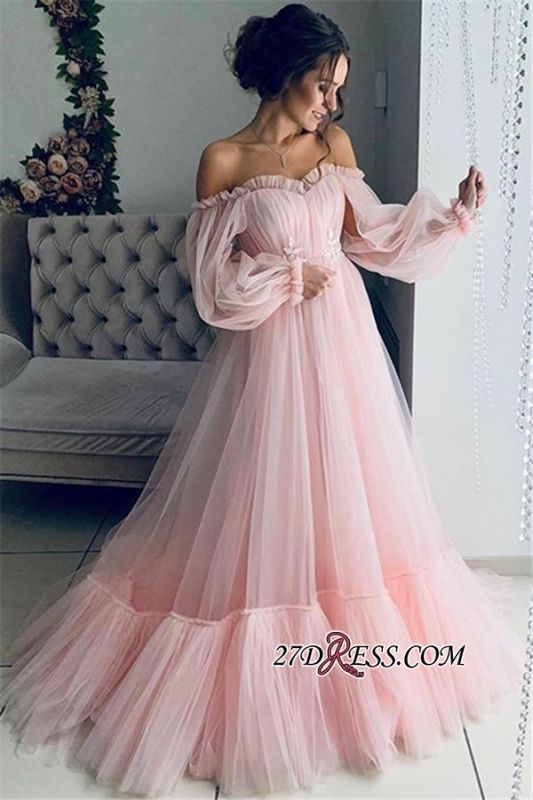 Gorgeous Off-The-Shoulder A-Line Prom Dress | Princess Sheer-Tulle Long-Sleeves Prom Gown