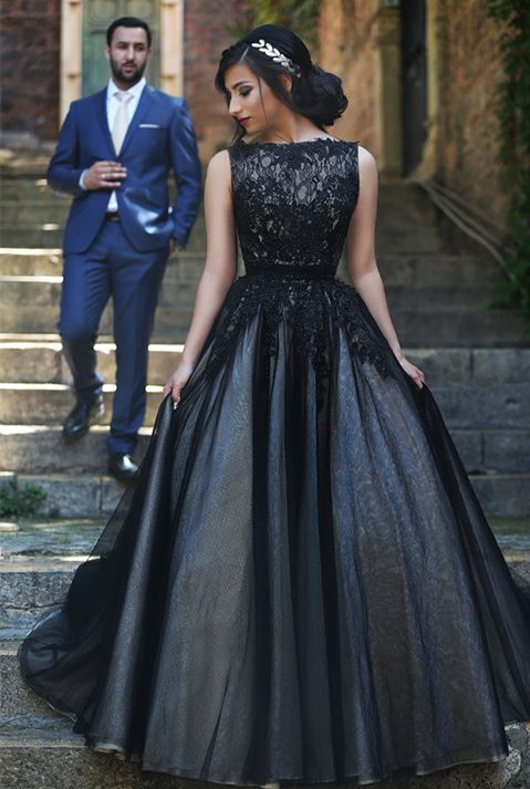 Elegant Sleeveless Tulle Black A-line Evening Dress Lace Appliques bo8949