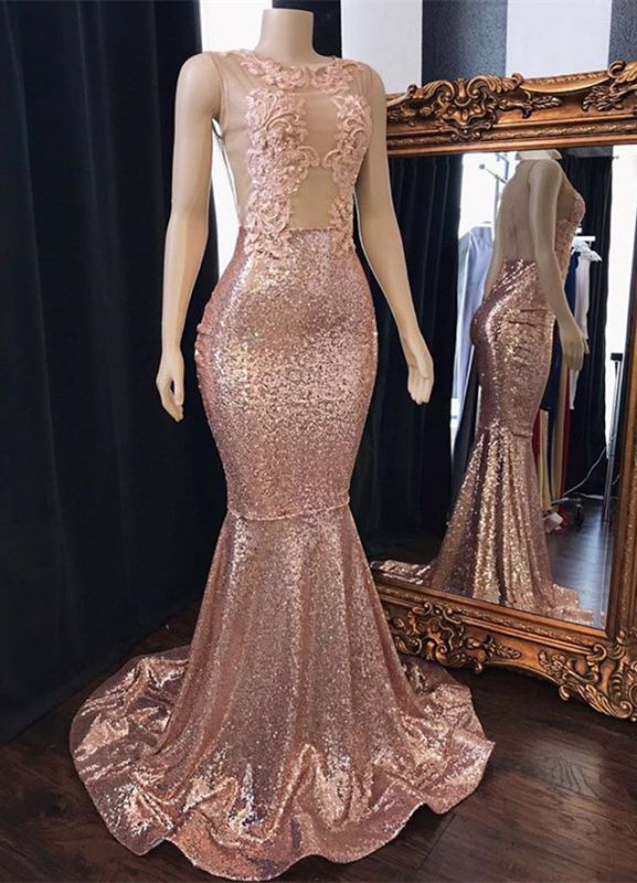 Stunning Scoop Sleeveless Pink Sequins Prom Dresses | 2020 Mermaid Evening Gowns With Appliques