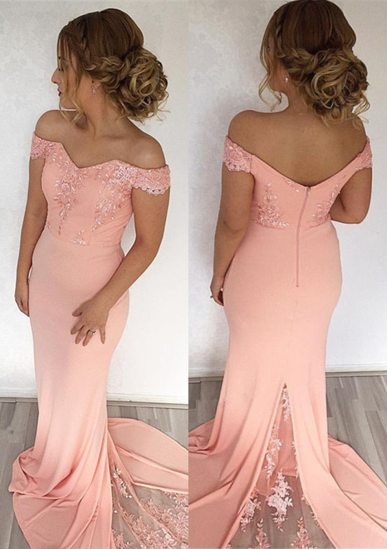 Elegant Off-the-Shoulder Mermaid 2021 Evening Dress With Lace Appliques _Evening Dresses_Prom & Evening_High Quality Wedding Dresses, Prom Dre