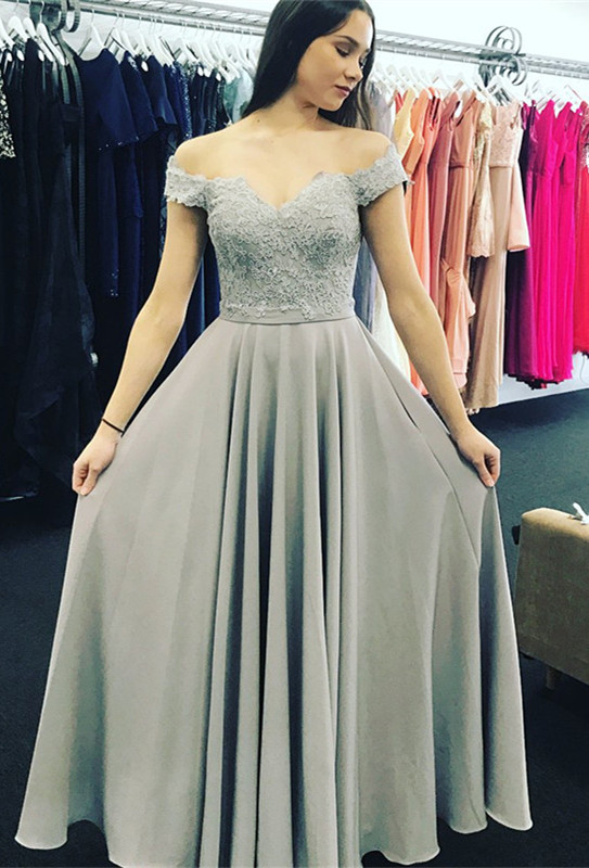 Elegant Off-the-Shoulder 2021 Evening Dress With Lace Appliques _Evening Dresses_Prom & Evening_High Quality Wedding Dresses, Prom Dresses, Ev