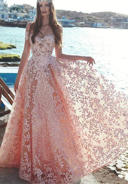 Elegant Off-the-Shoulder 2021 Evening Dress | Lace Appliques Prom Party Dress On Sale_Evening Dresses_Prom & Evening_High Quality Wedding Dres