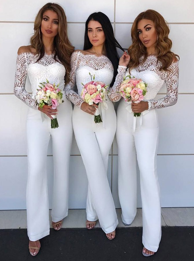Charming Off-the-Shoulder Long Sleeves Bridesmaid Dress | Lace Appliques Jump Shirt On Sale BA8978_Bridesmaid Dresses_Bridesmaid & Flower Girl