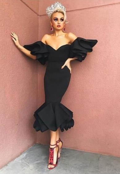 Sexy Black Off-the-Shoulder Evening Dresses | 2021 Ruffles Short Prom Gowns On Sale_Prom Dresses_Prom & Evening_High Quality Wedding Dresses,