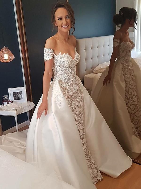 Gorgeous Sweetheart Lace Wedding Dress | Off-the-Shoulder 2021 Bridal Gowns On Sale_2021 Wedding Dresses_Wedding Dresses_High Quality Wedding Dresses,