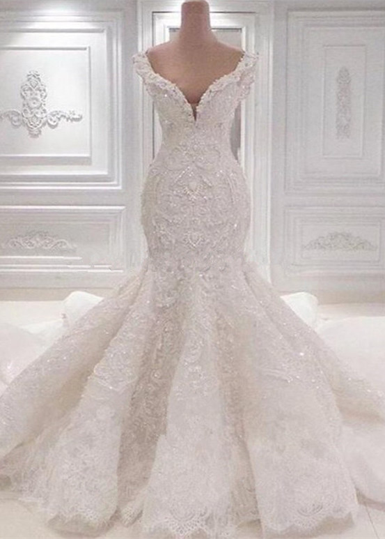Luxurious Off-the-Shoulder Mermaid Wedding Dresses | 2021 Lace Appliques Bridal Gowns On Sale BC0221_2021 Wedding Dresses_Wedding Dresses_High Quality