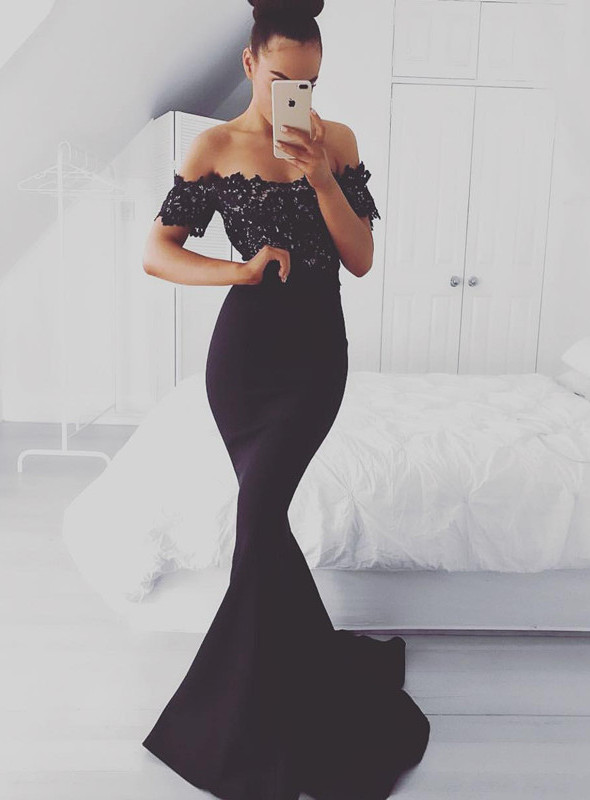 Gorgeous Off-the-Shoulder Lace Appliques 2021 Evening Dress Mermaid Long Party Dress BA7560_Evening Dresses_Prom & Evening_High Quality Weddin