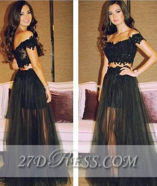 Separated Black Lace Prom Gowns Off-the-Shoulder A-Line Tulle Evening Dresses_Prom Dresses_Prom & Evening_High Quality Wedding Dresses, Prom D