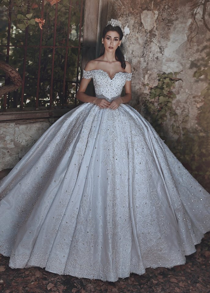 Glamorous Off-the-Shoulder Lace 2021 Wedding Dress Ball Gown Beads Wedding Reception_2021 Wedding Dresses_Wedding Dresses_High Quality Wedding Dresses