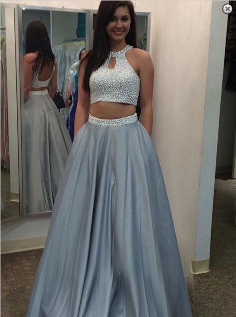 Glamorous Beading Two Piece 2021 Prom Dress Halter Sleeveless A-line_Prom Dresses_Prom & Evening_High Quality Wedding Dresses, Prom Dresses, E