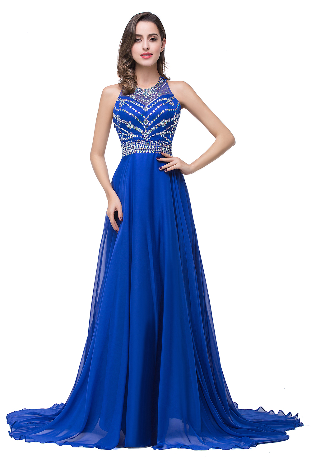 Newest Royal Blue Chiffon 2020 Prom Dress A-line Beadings