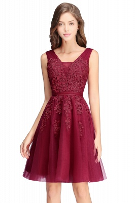 Beautiful Sleeveless lace-up Short homecoming Dress 2020 Lace Appliques Tulle BA3782_2