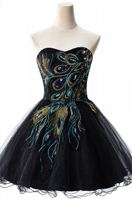Sexy Black Sweetheart Short Tulle Homecoming Dress Peacock Design_1