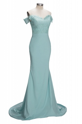Long Mermaid Mint Lace Off-the-Shoulder Bridesmaid Dress_1